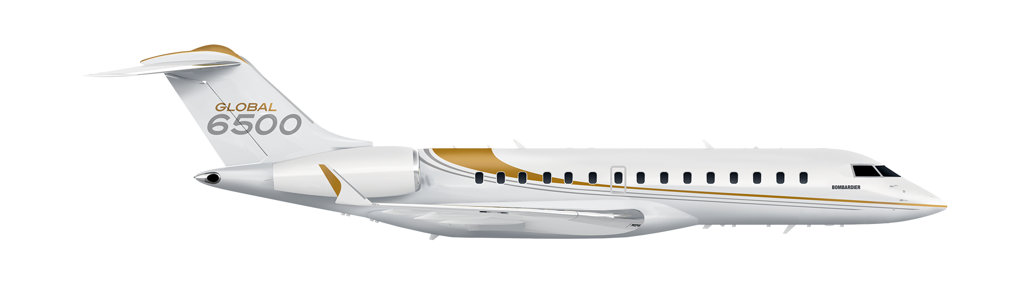 Global 6500 side silhouette