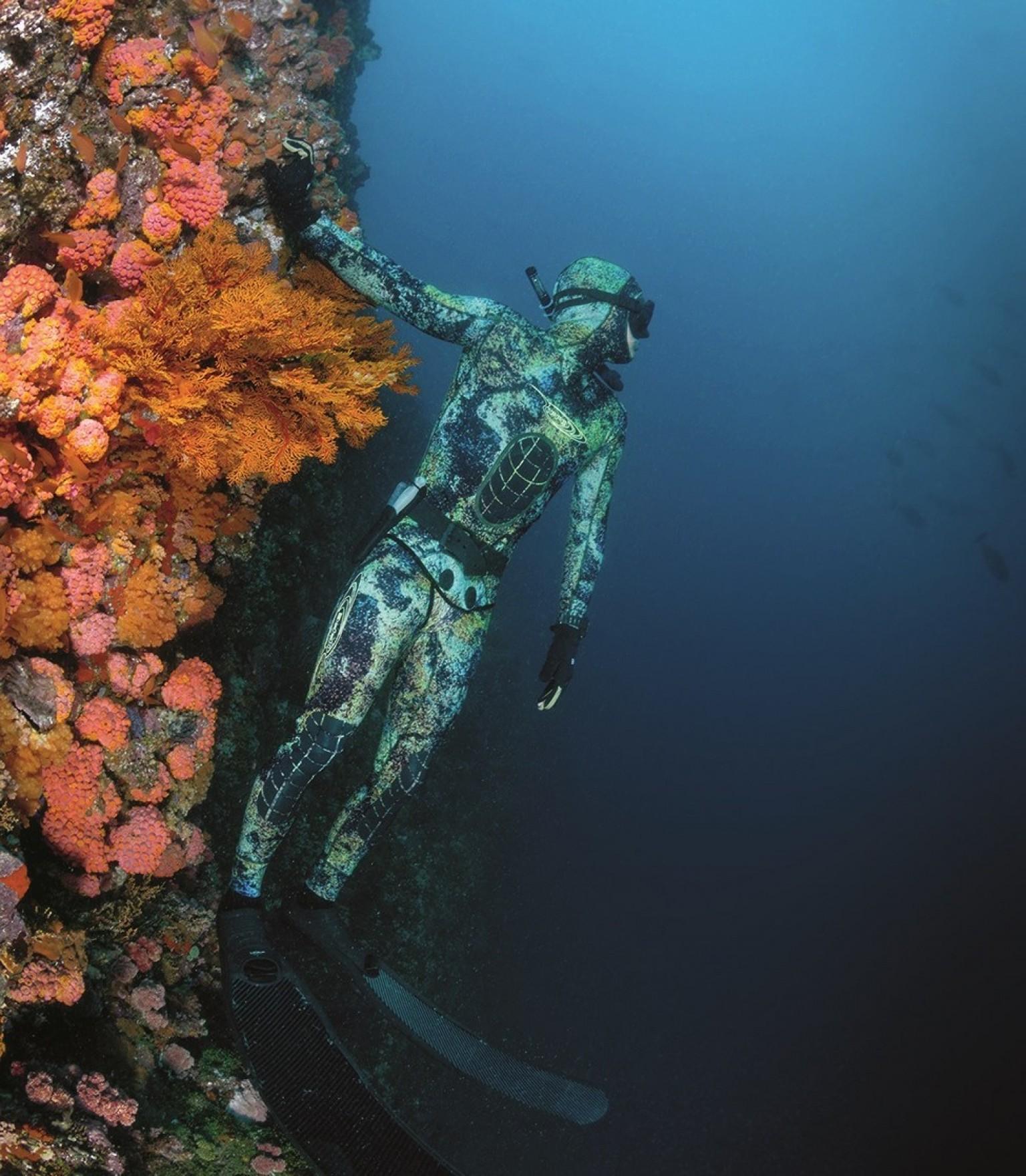 A scuba diver at Nihiwatu