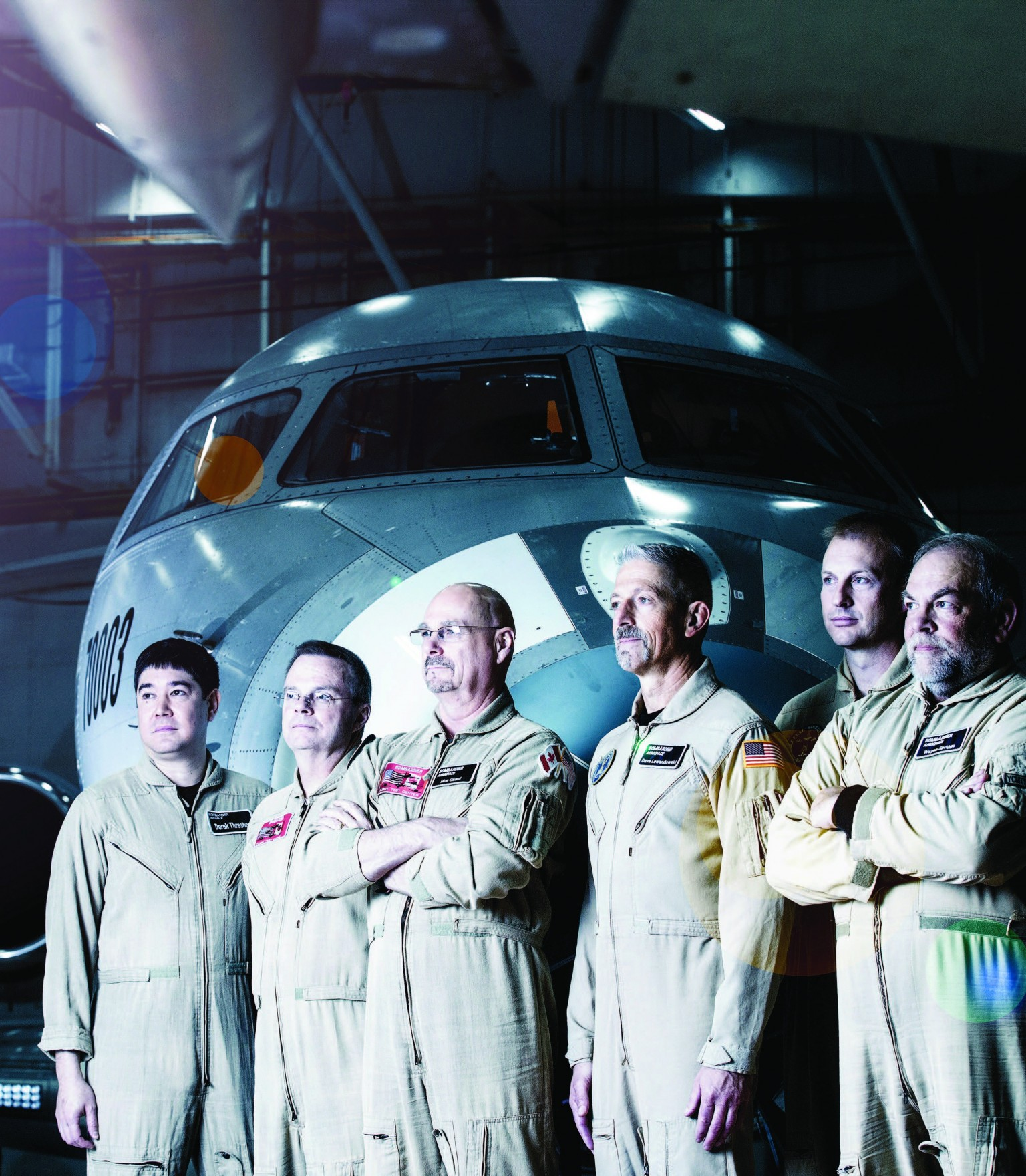 Bombardier's flight test team stand at the ready.