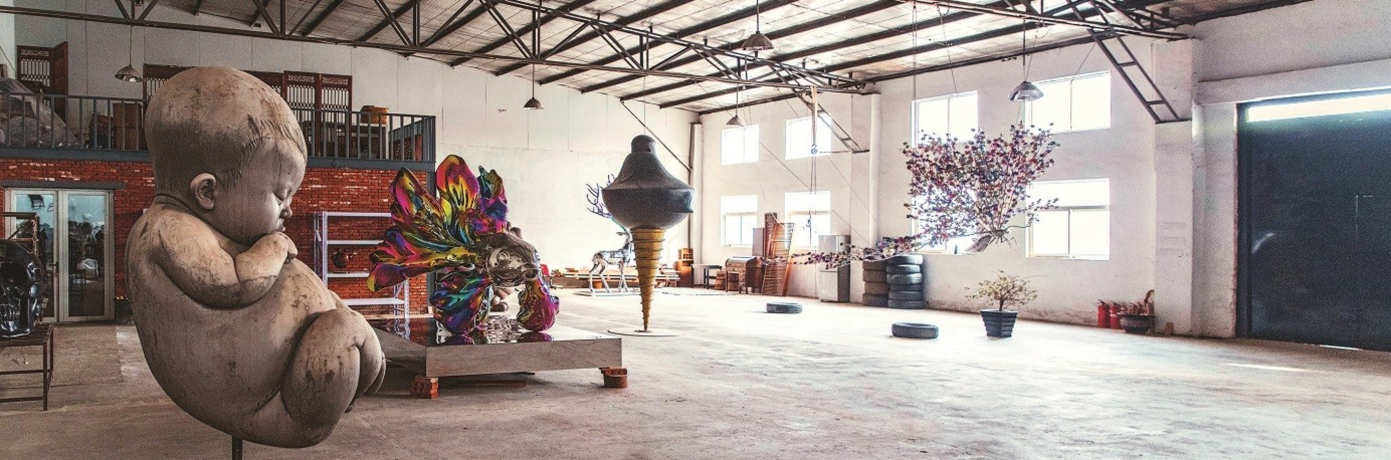 Large pieces of artwork by Gao Xiao Wu in his Beijing studio.