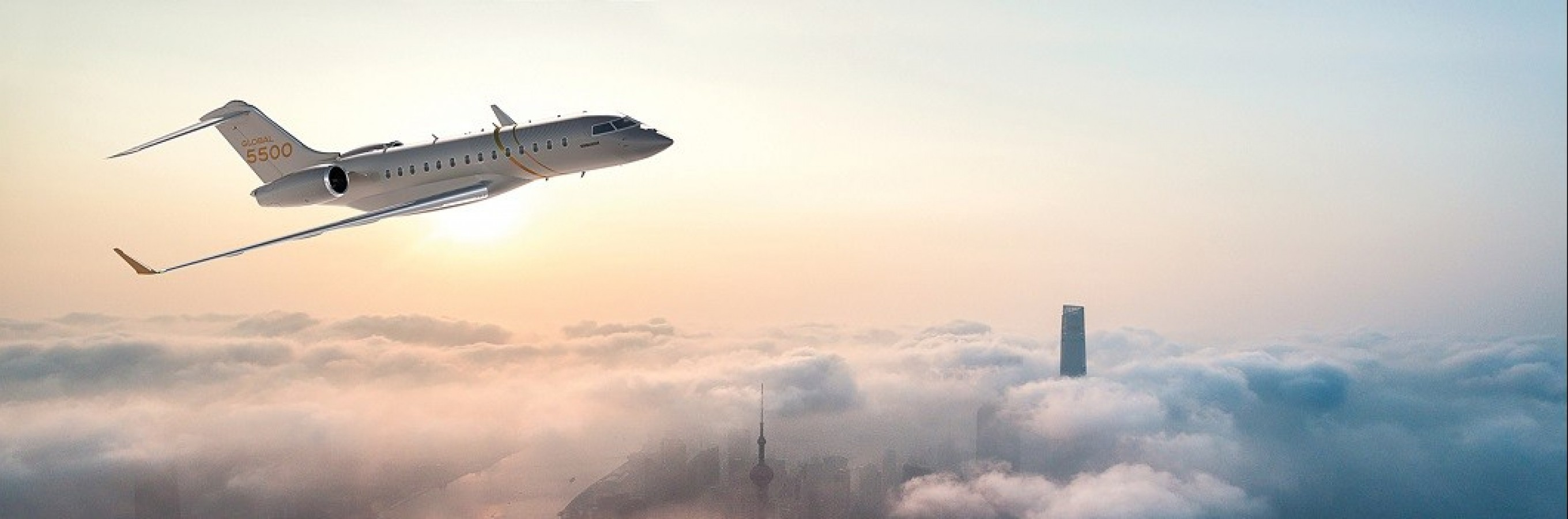 The Global 5500 jet soars above the clouds.