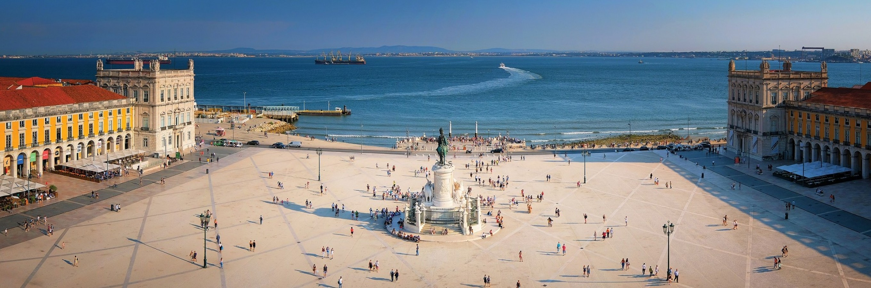 Lisbon's Praca do Comercio plaza from above.