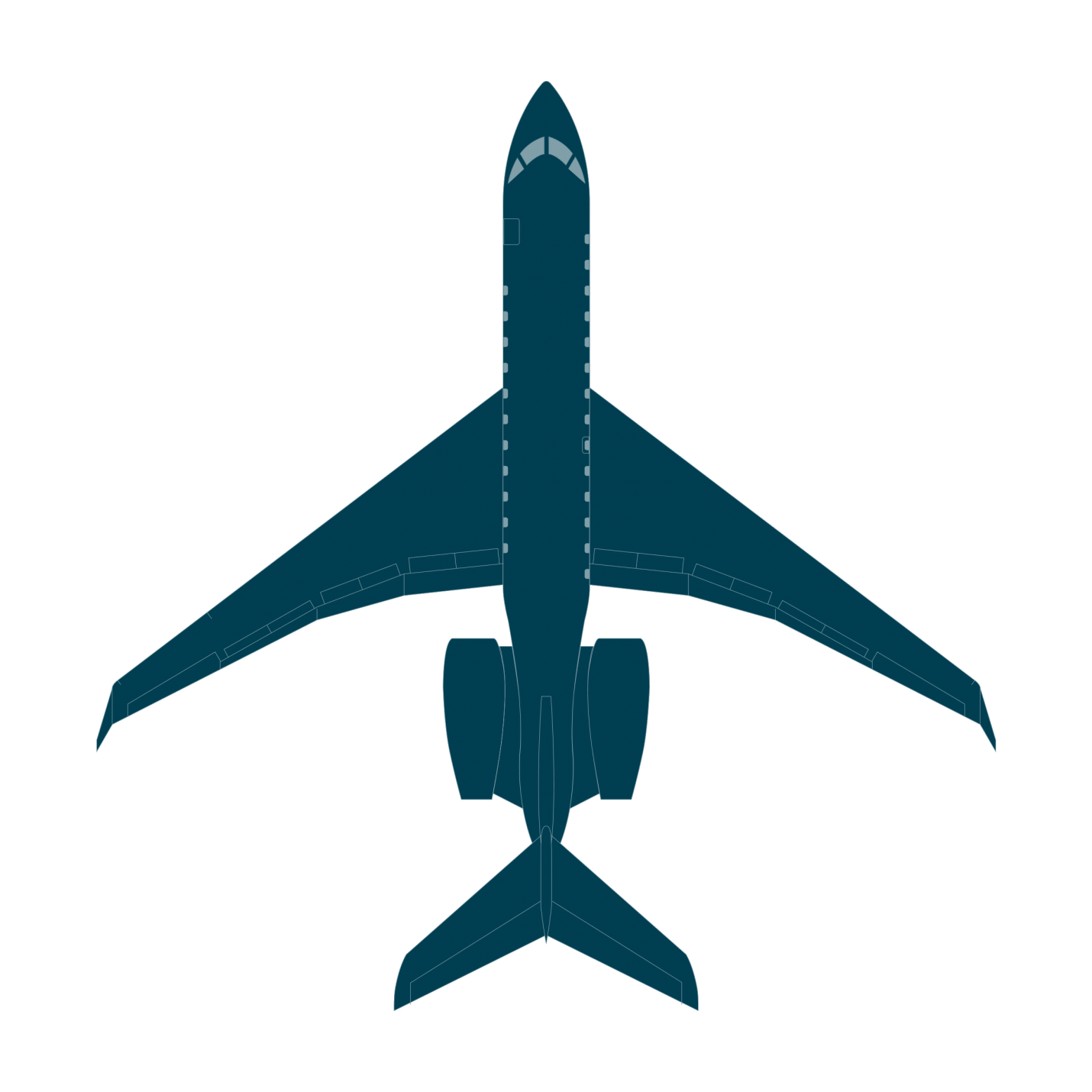Global 5000 top view CAD