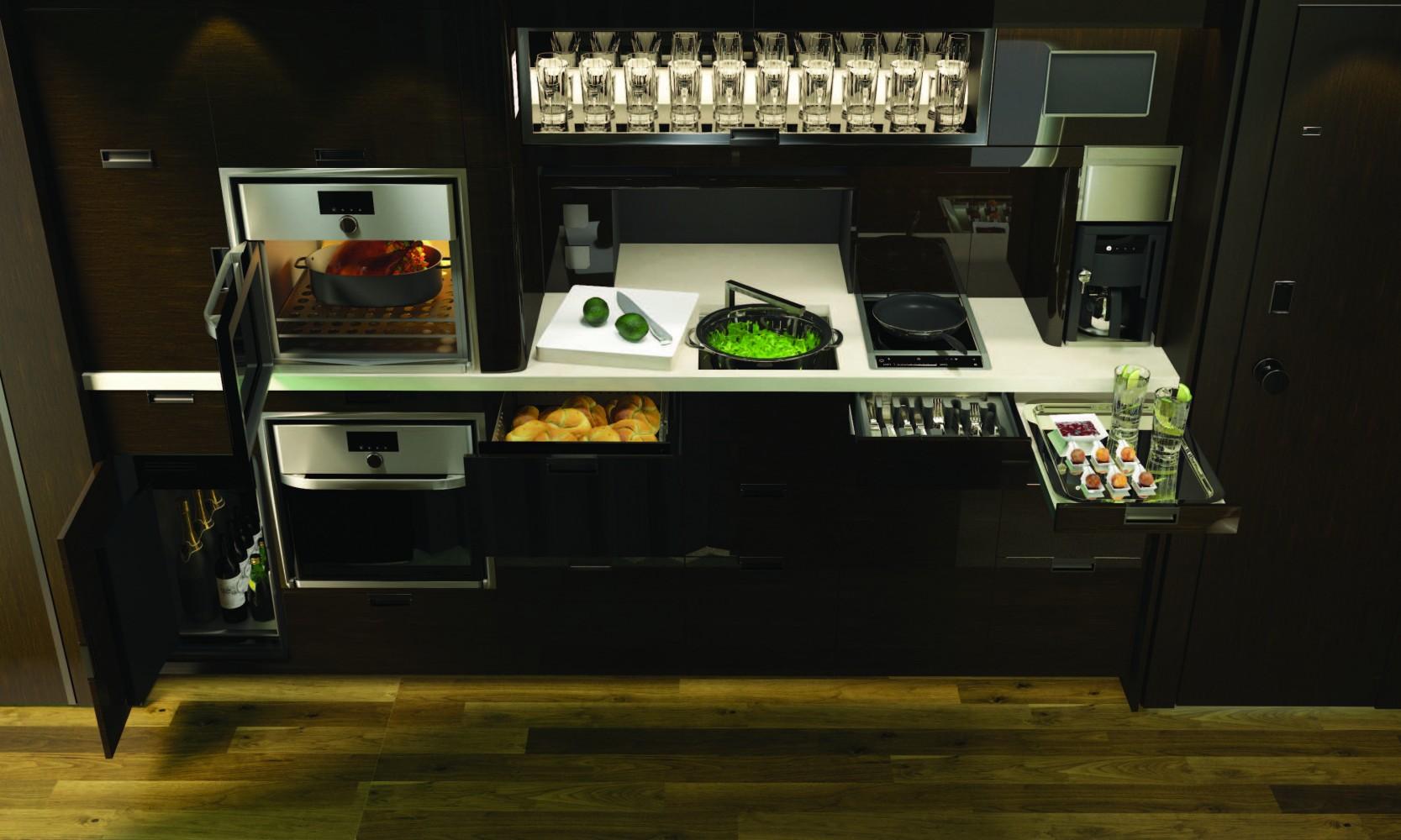 Global 7500 business jet kitchen storage