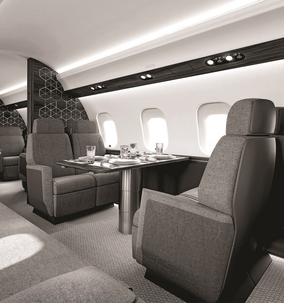 A table setting for four onboard the Global 6500 aircraft