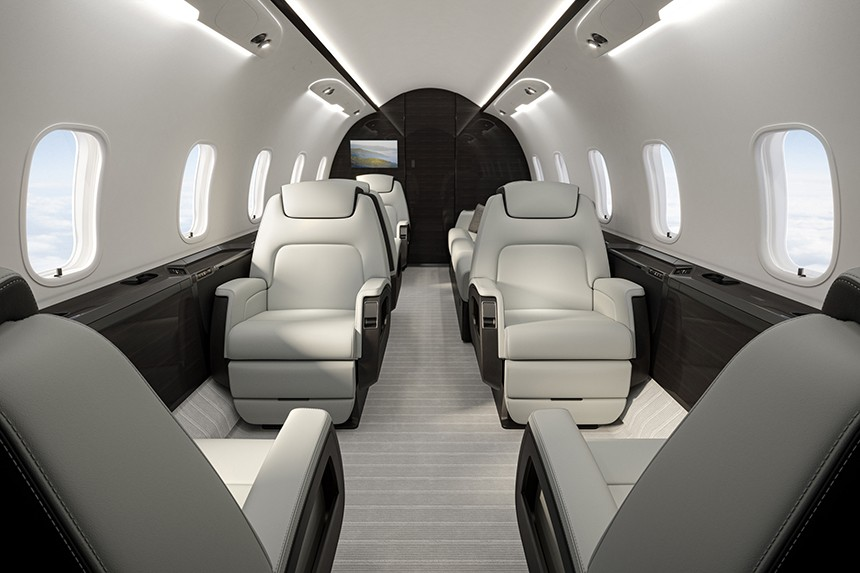 The upgraded cabin of the Challenger 350