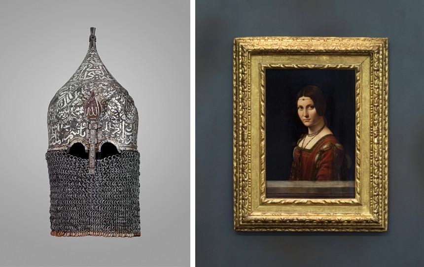 An artifact from Furusiyya: The Art of Chivalry between East and West and Leonardo da Vinci's La Belle Ferroniere.