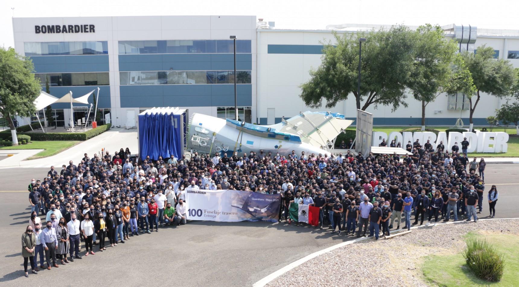 15e anniversaire de Bombardier Querétaro et 100e fuselage arrière d'avion Global 7500